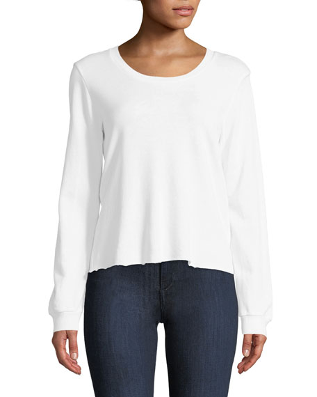 Lanston CORSET-BACK LONG-SLEEVE PULLOVER TOP