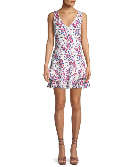 Tatum Ditsy Floral Print V Neck Sleeveless Cotton Eyelet Dress by Tanya Taylor