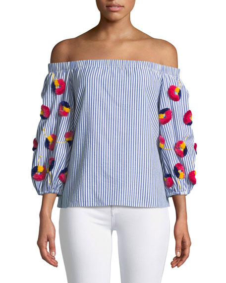 Michele Striped Off-the-Shoulder Embroidered Top