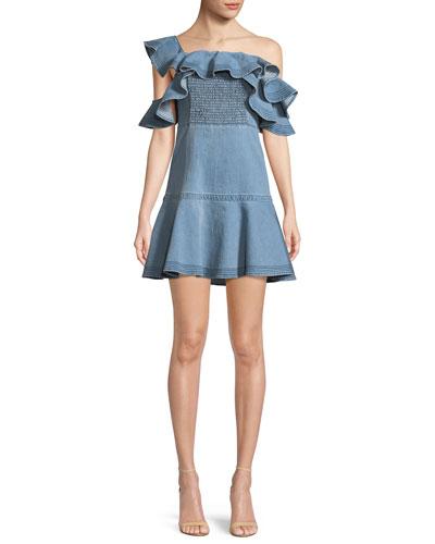 Lara Off-the-Shoulder Ruffle Denim Dress