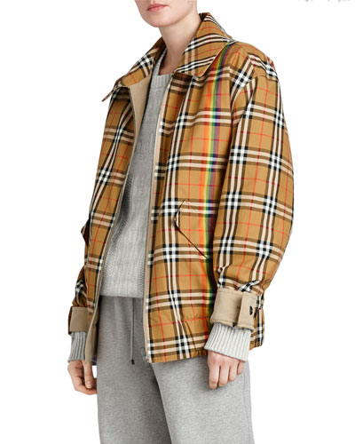 Re-Issued Capsule Reversible Rainbow-Stripe Check Cotton Gabardine Harrington Jacket