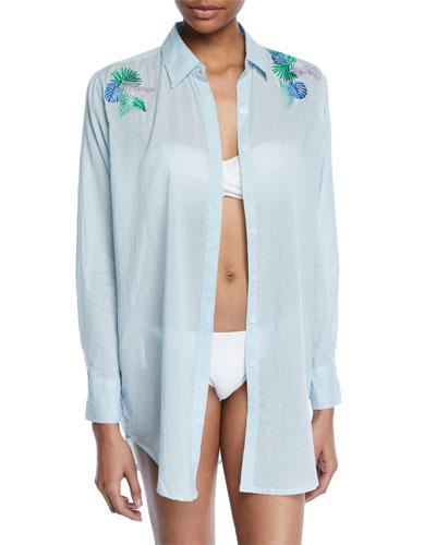 Button-Front Long-Sleeve Cotton Coverup Beach Shirt