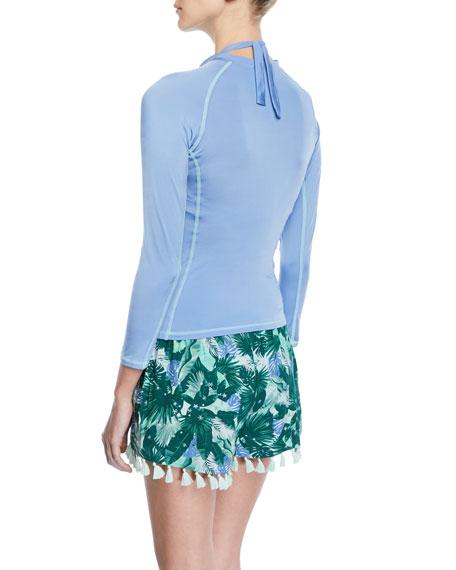 Tropical-Print Swim Shorts w/ Tassel Trim
