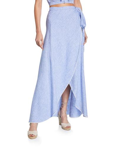 Ballerina Linen Skirt with Lace Trim