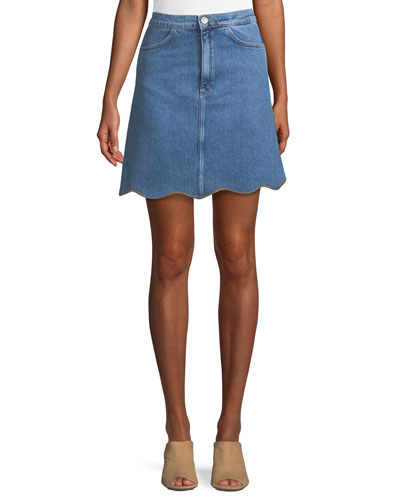 Lennie A-Line Scalloped-Hem Denim Skirt
