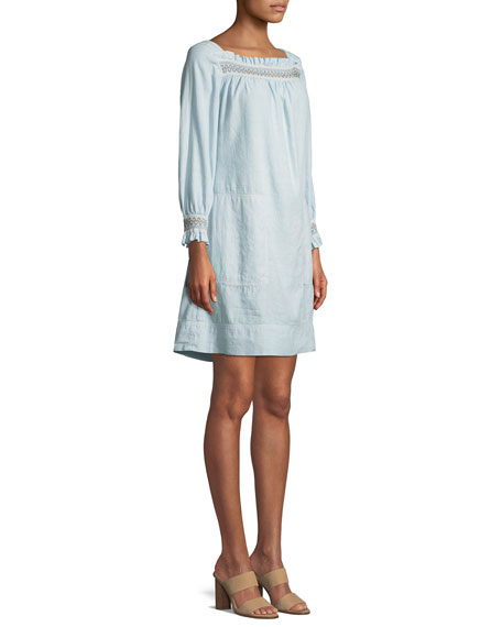 Reyes Boat-Neck Embroidered Linen-Cotton Dress