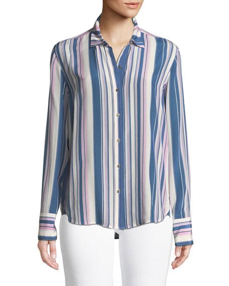Simple Long-Sleeve Button-Down Striped Silk Shirt