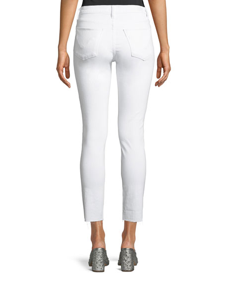 Barbara High-Waist Super-Skinny Ankle Jeans with Raw Hem