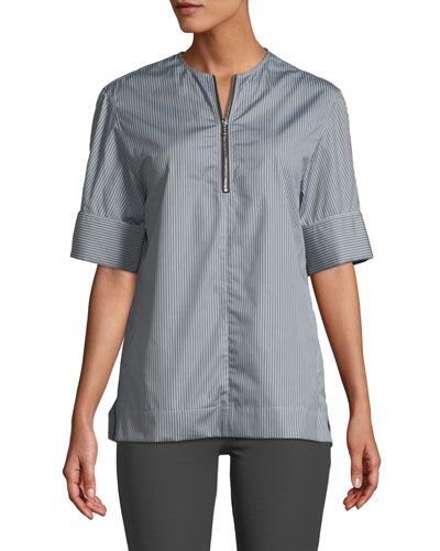 Brair Pinstripe Quarter-Zip Poplin Shirt