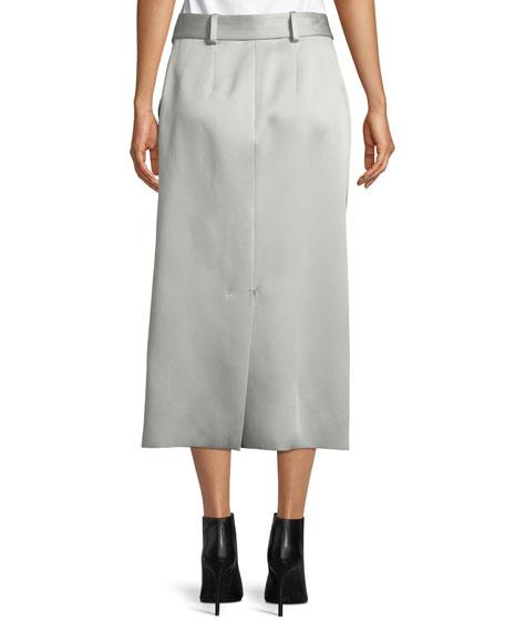Byron Slim Crepe Satin Midi Skirt with Belt