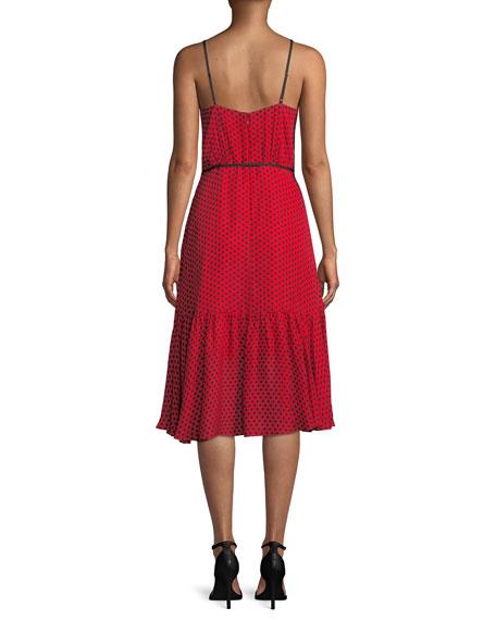 Tiffany Sleeveless Polka-Dot Silk Dress