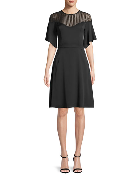 Jan Semisheer-Yoke Dress, Black