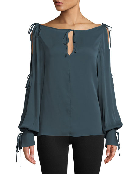 Connie Silk-Stretch Top with Ties