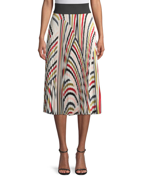 Multicolor Pleated Twill Skirt