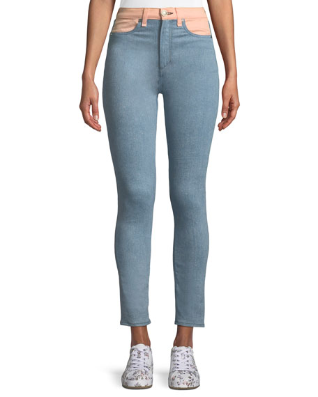 Phila High-Rise Skinny Jeans with Colorblocking Detail