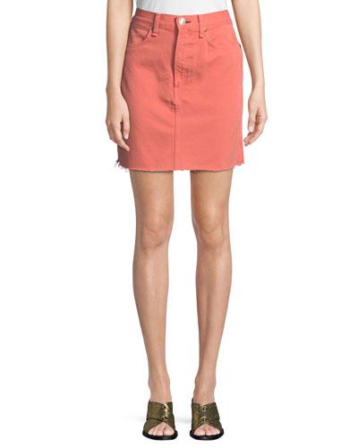Moss Denim Mini Skirt with Raw-Edge Hem