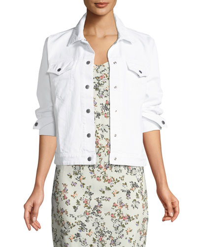 Nico Button-Front Long-Sleeve Denim Jacket