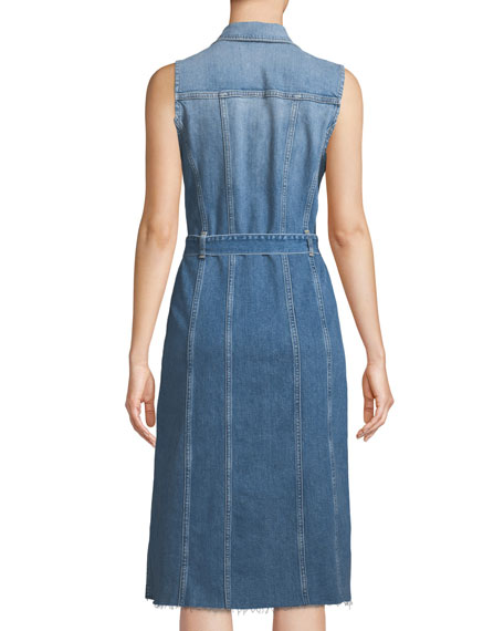 107f13da521c99 7 For All Mankind Trucker Vest Button-Down Sleeveless Denim Dress