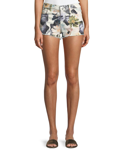 Floral-Print Cutoff Denim Shorts