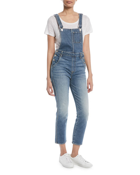 7 For All Mankind Edie Straight-Leg Denim Overalls