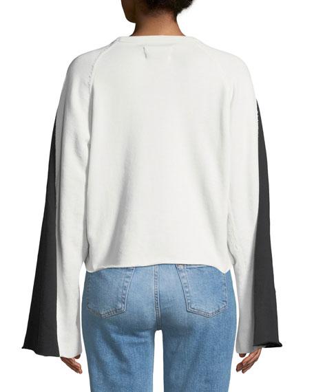 Flare-Sleeve Crop French Terry Sweatshirt