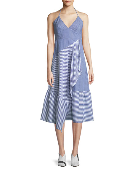 Collage Striped Halter Midi Dress by Tibi