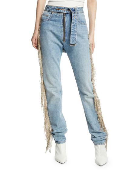 Straight-Leg Fringe Jeans