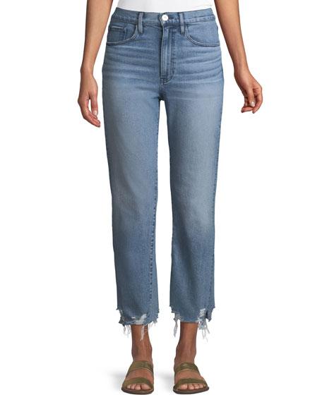 3x1 W4 Relaxed Straight-Leg Crop Jeans w/ Split