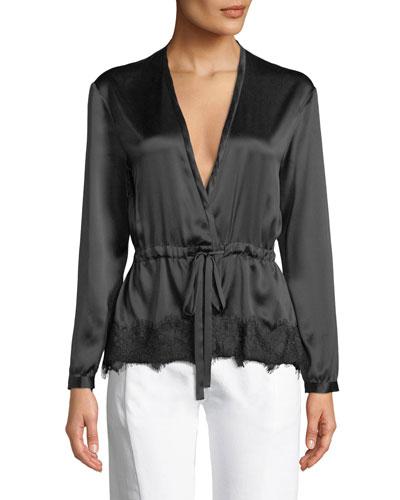 Tomlin V-Neck Long-Sleeve Satin Silk Shirt