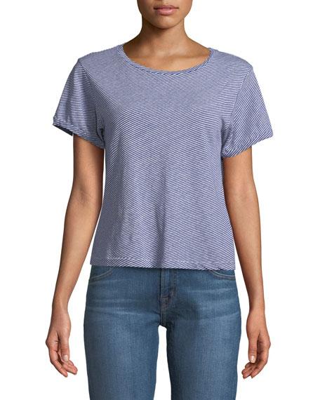 Nerd Short-Sleeve Crewneck Striped Linen-Cotton Jersey Tee