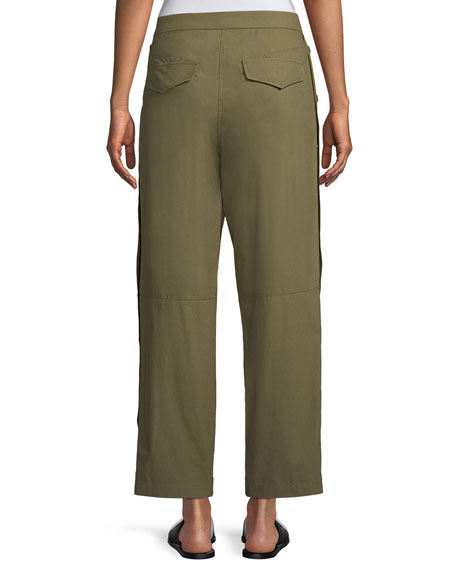 Marion Snap-Side Straight-Leg Pants