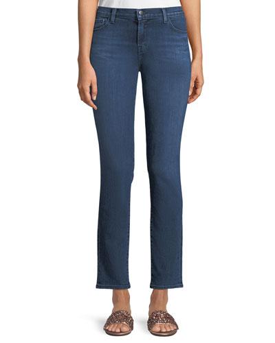 Maude Mid-Rise Cigarette Jeans in Belladonna