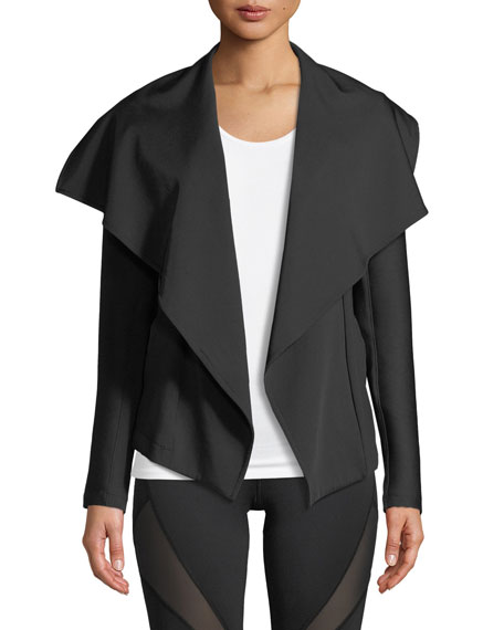 MICHI CHICANE OPEN-FRONT JACKET WITH RIBBED SLEEVES