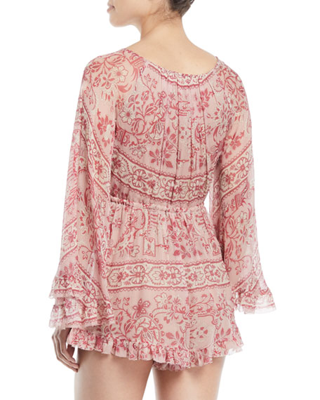 0484f40239e Zimmermann Castile Flared-Sleeve Floral-Print Playsuit