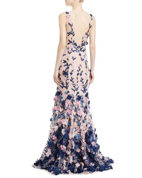 570fde4e3e Marchesa Notte Embroidered 3D Chiffon Flower Trumpet Gown