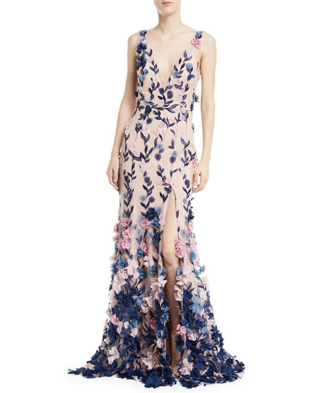 13789d44f11 Marchesa Notte Embroidered 3D Chiffon Flower Trumpet Gown
