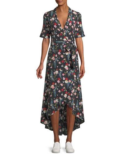 Imogene Floral-Print Silk Long Wrap Dress
