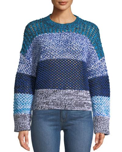 Colorblock Gradient Crewneck Sweater