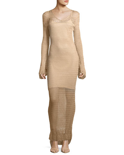 Maureen Long-Sleeve Crochet Maxi Dress