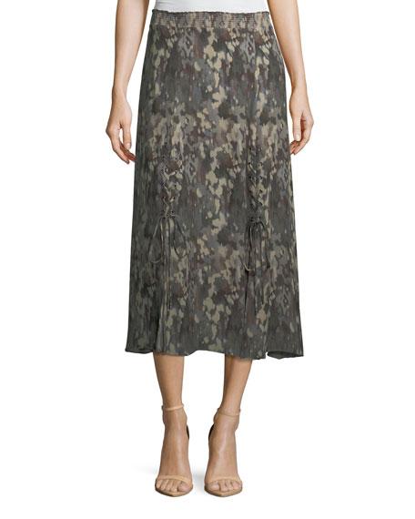 3e706bf3c739f Haute Hippie Solo Printed Silk Midi Skirt