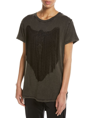 Beaded Longhorn Fringe High-Low Tee