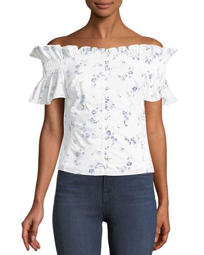 Francine Floral Off-the-Shoulder Button-Front Top
