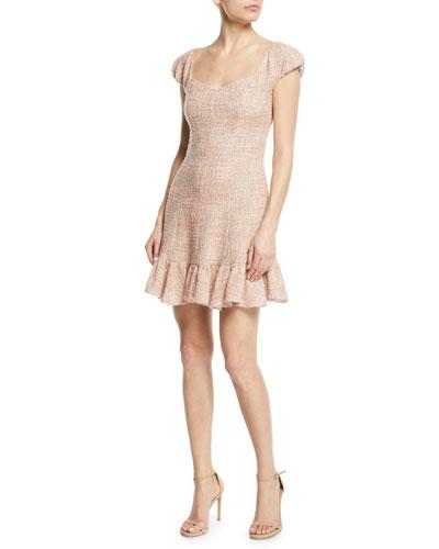 Cap-Sleeve Tweed Flounce Dress