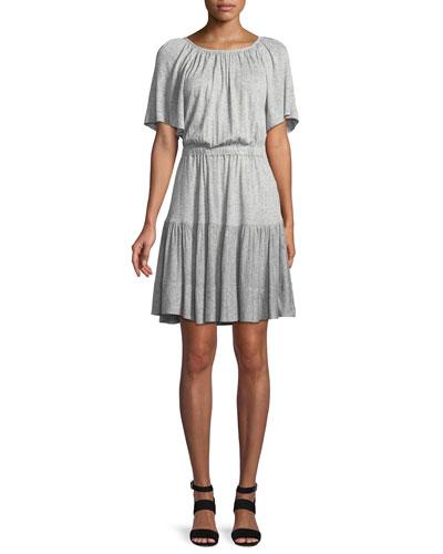Short-Sleeve Cutout-Back Jersey Dress