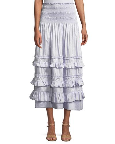 Smocked Ruffle Midi Skirt