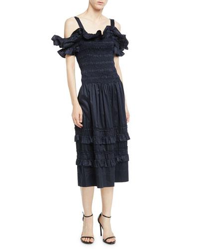 Off-the-Shoulder Smocked Ruffle Dress