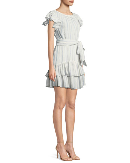 Striped Self-Tie Ruffle Mini Dress