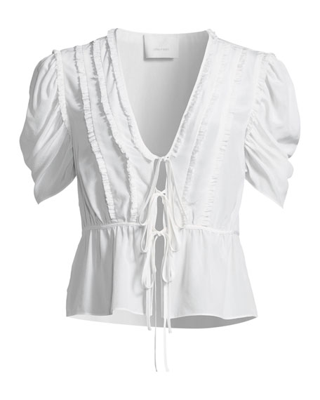 Keira Lace-Up Silk Blouse with Ruffle Trim