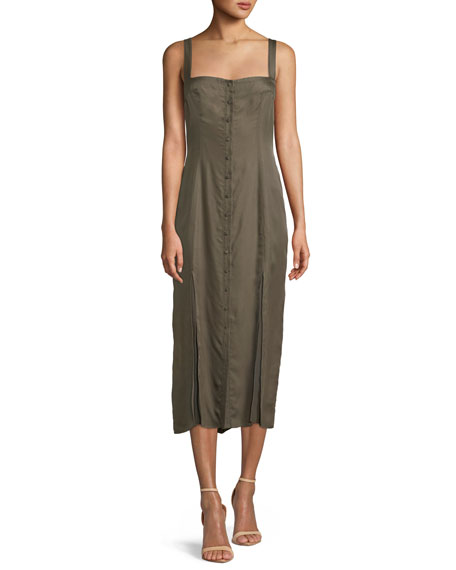 Alexa Sleeveless Button-Front Midi Dress, Olive