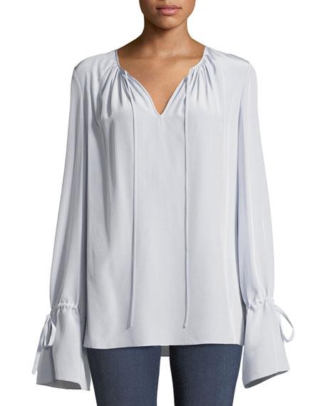 6c328bb8c6aff Diane von Furstenberg Long-Sleeve Silk Crepe Keyhole Blouse
